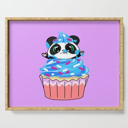 A Panda Popping out of a Cupcake Serving Tray