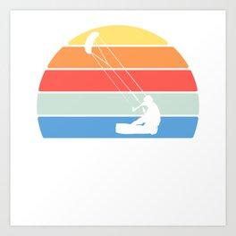 """Retro """"Kite"""" T-shirt Design Kitesurfer Kitesurfing Bridle Tail Wind Park Festival Anchor Silhouette Art Print"""
