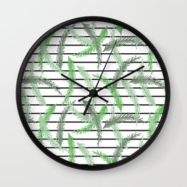 Stripes and Sprigs Wall Clock