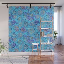 Blue Floral Print Wall Mural