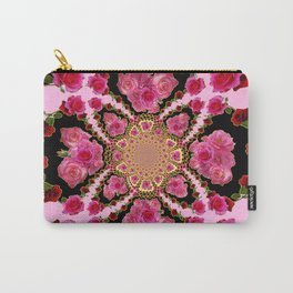 BLACK-PINK GARDEN ROSES MANDALA Carry-All Pouch