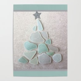 Sea Foam Sea Glass Christmas Tree #Christmas #seaglass Poster