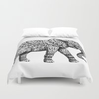 ornate elephant Duvet Covers featuring Ornate Elephant 3.0 by BIOWORKZ