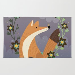 Fox and flowers Rug