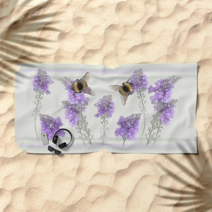 Watercolor Bumble Bee Beach Towel