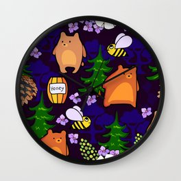 bears and bees in the forest Wall Clock