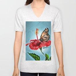 Butterfly on flower 2 Unisex V-Neck