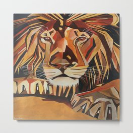 Lion Vector In Cubist Style Metal Print