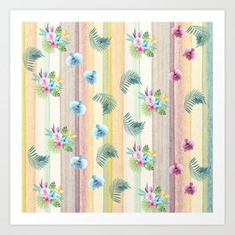 Hawaiian Orchids and Palms in Watercolor Art Print