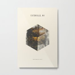 Minimalist Travel Poster - Catskills, NY Metal Print