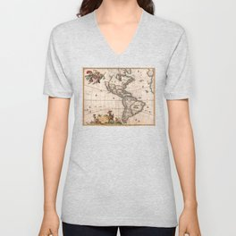 1658 Visscher Map of North & South America with enhancements Unisex V-Neck