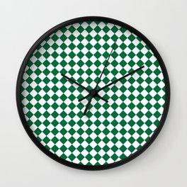 White and Cadmium Green Diamonds Wall Clock