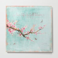 Live life in full bloom - Romantic Spring Cherryblossom butterfly  Watercolor illustration on aqua Metal Print