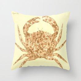 Sepia Floral Crab  Throw Pillow