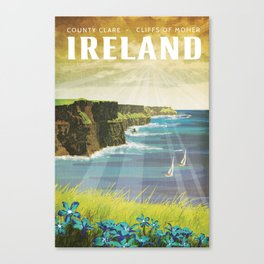 Ireland, Cliffs of Moher - Vintage Style Travel Poster Canvas Print