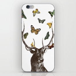 The Stag and Butterflies iPhone Skin