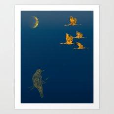 Moon-lit Flight Art Print