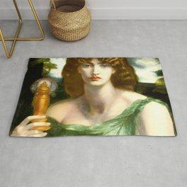 "Dante Gabriel Rossetti ""Mnemosyne (also Lamp of Memory)"" Rug"