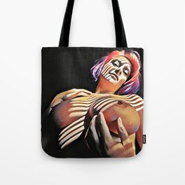 2376s-JG Jessica Striped in Light, Beautiful Big Bare Breasts Tote Bag