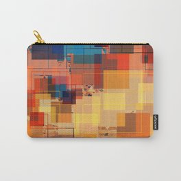 Multi color Square Geometrical Overlays Carry-All Pouch