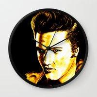 elvis presley Wall Clocks featuring Elvis Presley by GittaG74