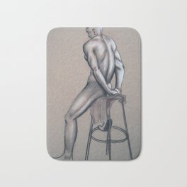 Seated Male on Brown Paper Bath Mat