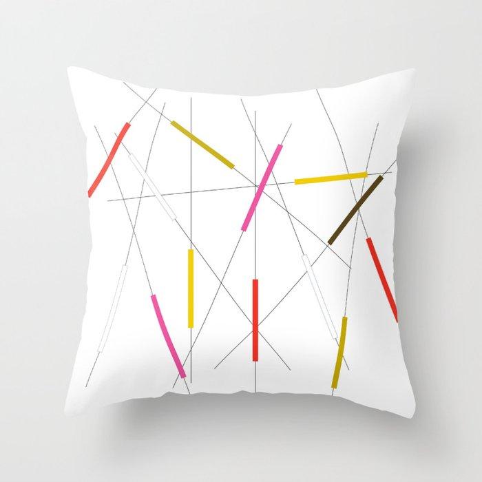 Criss cross red, pink & green Throw Pillow