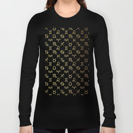 Twelve Zodiac Signs Horoscope Pattern Long Sleeve T-shirt
