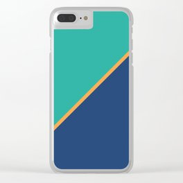 Mint & Dark Blue - oblique Clear iPhone Case
