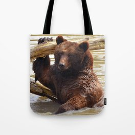 Majestic Large Grown Grizzly Bear Clinging Onto Fleetwood In Lake Ultra HD Tote Bag
