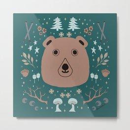 Up North Winter Bear, Skis, Marshmallows and Trees Metal Print