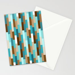 Staggered Geometric Rectangles // Caribbean Blue, Ocean Blue, Dark Brown, Coffee Brown, Khaki Stationery Cards