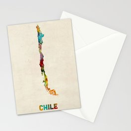 Chile Watercolor Map Stationery Cards