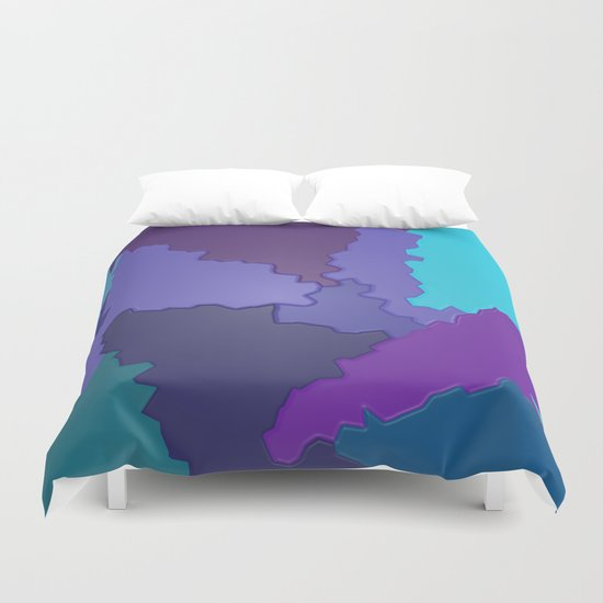 Blues and Purples Puzzle Patchwork Duvet Cover
