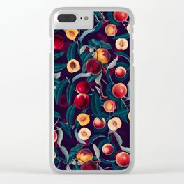 Nectarine and Leaf pattern Clear iPhone Case