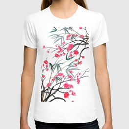 bamboo and red plum flowers in pink background T-shirt