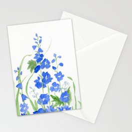 Blue Larkspur Watercolor Garden Flower Delicate Painting Stationery Cards