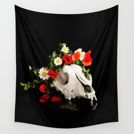 Animal skull with a wreath of wild flower Wall Tapestry