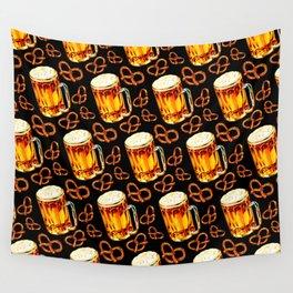 Beer & Pretzel Pattern - Black Wall Tapestry