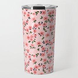 29 Cute floral pattern. Pink flowers. Travel Mug
