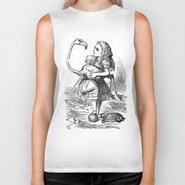 Vintage Alice in Wonderland flamingo croquet antique book drawing emo goth illustration art print  Biker Tank