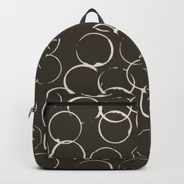 Circles Geometric Pattern Chocolate Brown Antique White Backpack