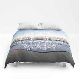 Flower shell mandala - shoreline Comforters