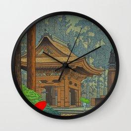 Asano Takeji Japanese Woodblock Print Vintage Mid Century Art Shinto Shrine Forest Wall Clock