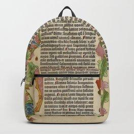 Gutenberg BIBLE Leaf Page Illuminated Flowers Medieval 1455 - D Letter Backpack