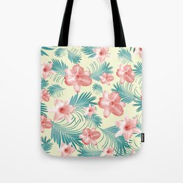 Tropical Flowers Palm Leaves Finesse #7 #tropical #decor #art #society6 Tote Bag