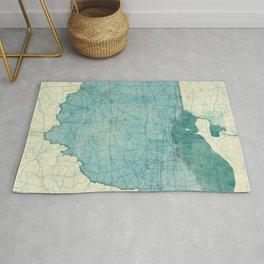 Ohio State Map Blue Vintage Rug