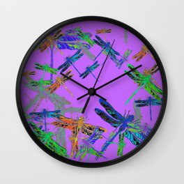 Decorative Green-Purple Dragonfly Lilac Skies Abstract Design Wall Clock