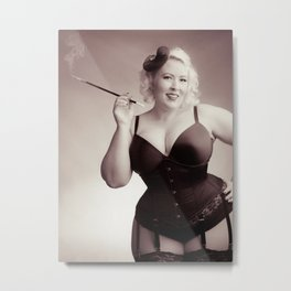 """Of Corset Darling"" - The Playful Pinup - Vintage Corset Pinup Photo by Maxwell H. Johnson Metal Print"