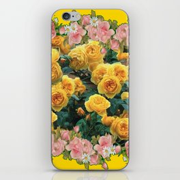 PINK & YELLOW SPRING ROSES GARDEN VIGNETTE iPhone Skin